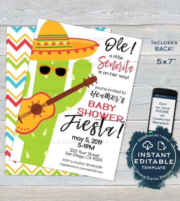 Senorita Baby Shower Invitation, Editable Baby Fiesta Invite, Taco bout a Baby Cinco de Mayo Fiesta, Printable Template INSTANT DOWNLOAD 5x7