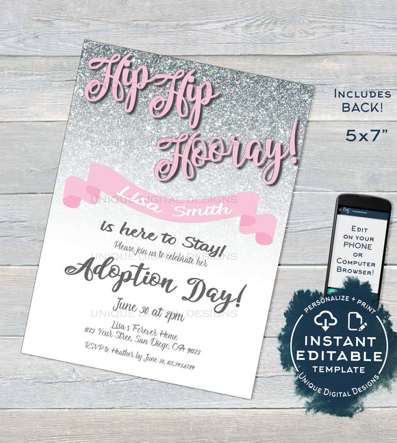 Adoption Day Invitation, Editable Mothers Day New Family Invite, Hip Hip Hooray, Silver Glitter  Printable Custom