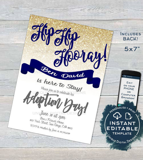 Adoption Day Invitation, Son Editable Mothers Day New Family Invite, Hip Hip Hooray Gold Navy Glitter, Printable