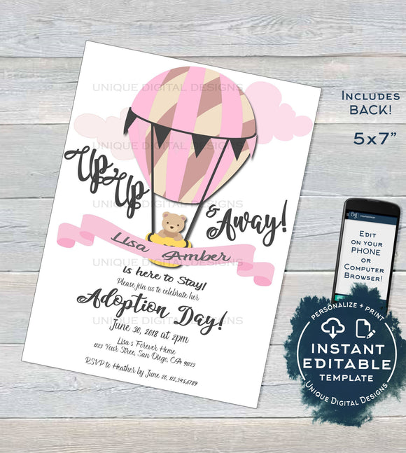Adoption Day Invitation, Editable Up Up and Away Invite, Celebrate New Adventures New Family Hot Air Balloon Printable diy