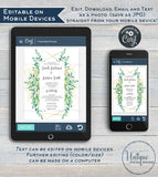 Greenery Wedding Invitation Template, Elegant Watercolor Succulent Marriage Invite, Gold Boho Eucalyptus Digital Printable INSTANT DOWNLOAD