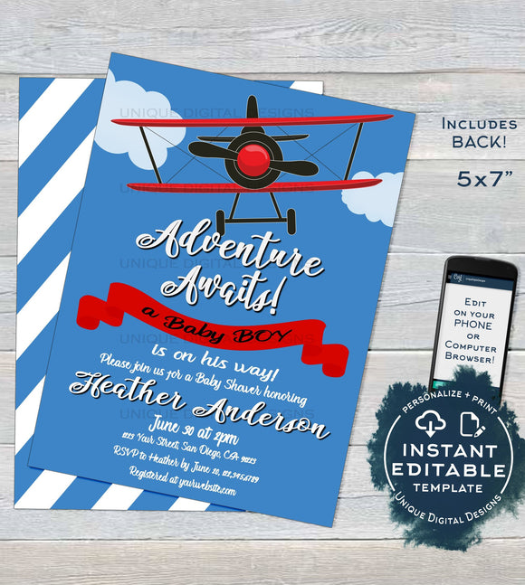 Airplane Baby Shower Invitation Template, Editable Airplane Boy Baby Shower Invite, Baby Adventure Awaits Printable Custom INSTANT DOWNLOAD