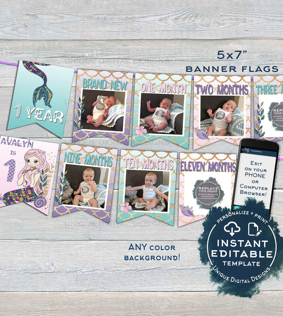 Mermaid Banner , Girls First Year Photo Banner Flag 12 month Editable Mermaid 1st Birthday Decor Printable