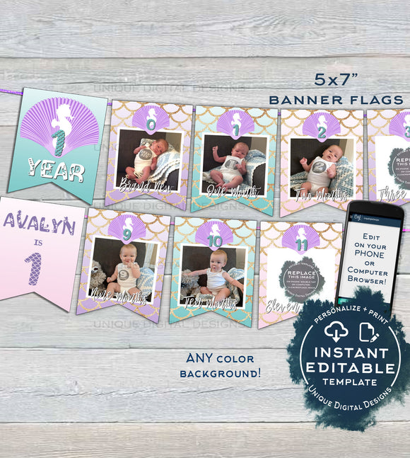 Mermaid Banner Template, Girls First Year Photo Banner Flag 12 month Editable Mermaid 1st Birthday Decor Printable Template INSTANT ACCESS