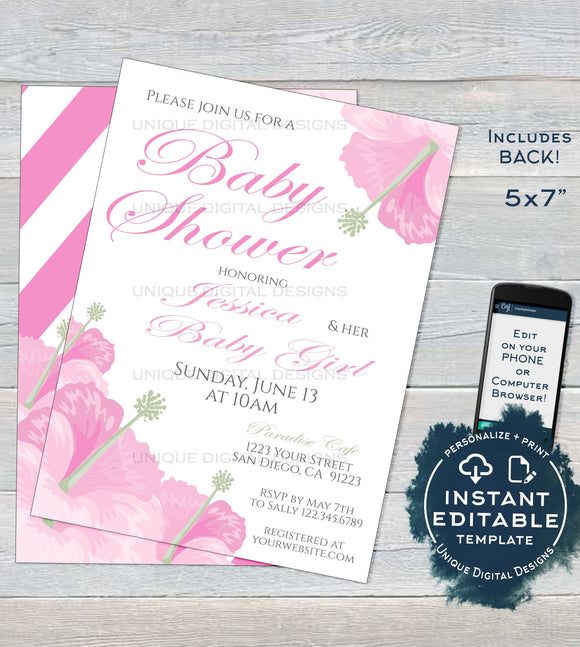 Hibiscus Pink Baby Shower Invitation, Editable Pink Baby Girl Invite, Hawaiian Party Pretty Floral Theme Printable Template INSTANT DOWNLOAD