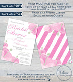 Pink Hibiscus Bridal Shower Invitation, Editable Pink Wedding Invite, Hawaiian Bachelorette Bride, Floral Custom Printable