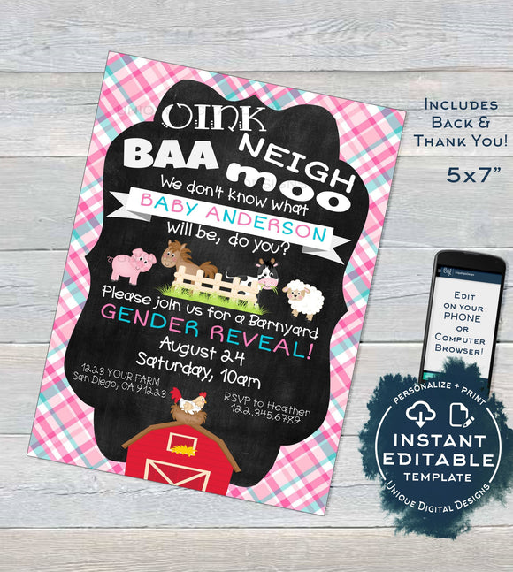 Farm Animal Gender Reveal Invitation, Editable Boy or Girl Baby Shower Invite, Barnyard Bash He or She? Printable
