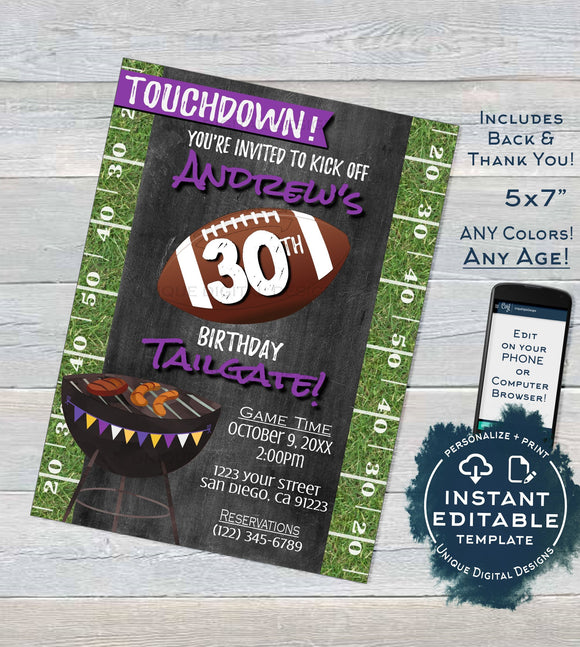 Football Birthday Invitation Tailgate and Touchdowns, Editable Tailgate Invitations Footy Chalkboard Printable Template INSTANT DOWNLOAD 5x7