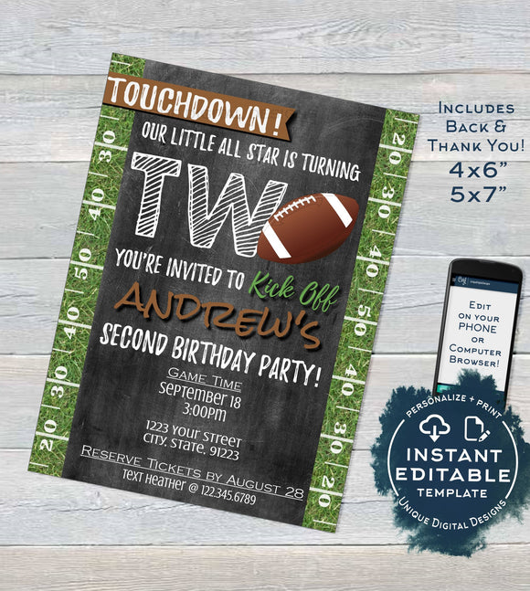 Football Birthday Invitation, Second Birthday Invite, Touchdown Two Footy Chalkboard Template Custom Printable INSTANT Self EDITABLE 5x7 4x6
