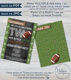 Football Birthday Invitation, Second Birthday Invite, Touchdown Two Footy Chalkboard  Custom Printable INSTANT Self EDITABLE  4x6
