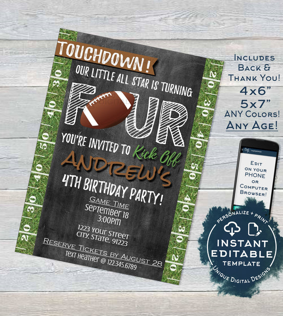 Football Birthday Invitation 4th Birthday Invite Touchdown Four Footy Editable Chalkboard Template Custom Printable INSTANT DOWNLOAD 5x7 4x6