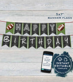 Football Birthday Decorations KIT, Invitation plus Editable First Birthday Football Party Pack