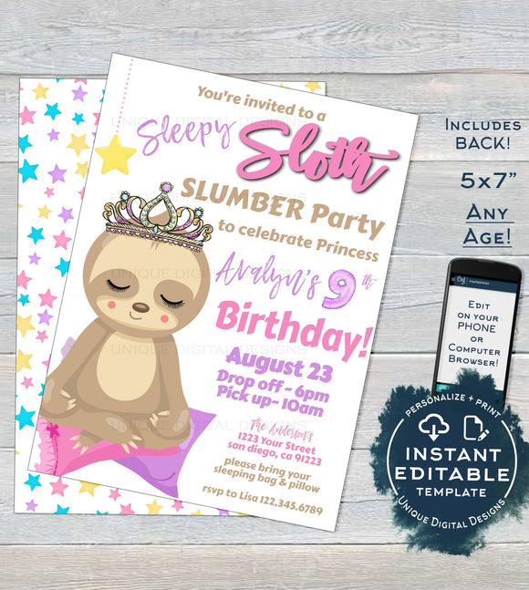 Cute Sloth Slumber Party Invitation, Editable Sloth Sleepover Invite, Sloth Sleep over Birthday Princess, ANY Age Printable INSTANT DOWNLOAD