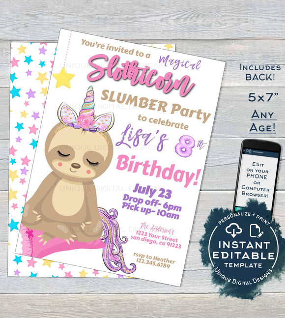 Slothicorn Invitation, Editable Unicorn Slumber Party, Girls Sloth Sleepover Birthday Sloth-icorn, ANY Age Custom Printable INSTANT DOWNLOAD