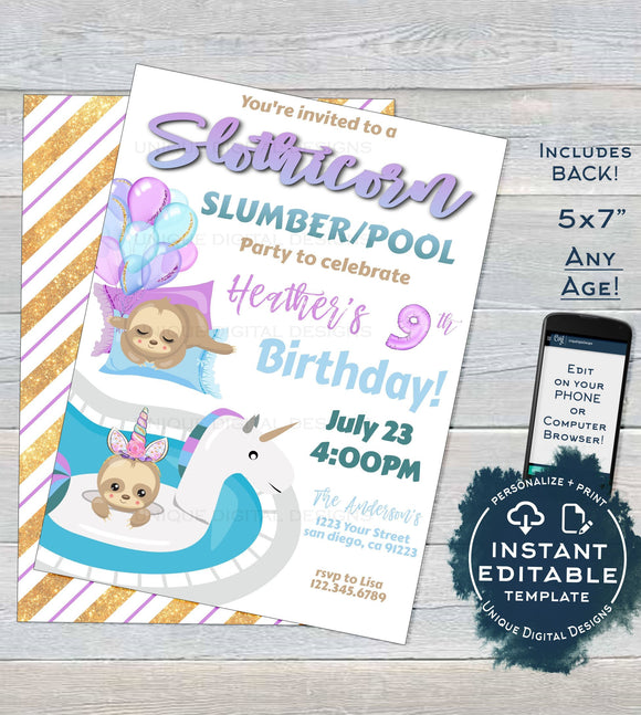 Sloth Sleepover Pool Party Invitation, Slothicorn Editable Unicorn Slumber Party, Sloth-icorn Birthday, ANY Age Printable