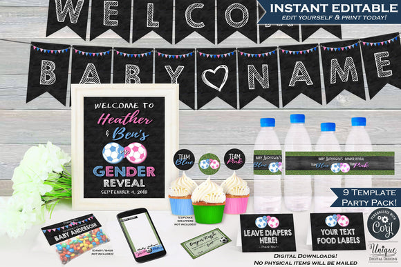 Soccer Gender Reveal KIT, Editable Soccer Decoration Party Pack Bundle, Baby Shower Invite Suite, Team He or She, Printable INSTANT DOWNLOAD