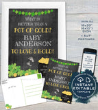 Editable St Patricks Day Baby Announcement Postcard and Sign, Pot of Gold Lucky Charm Baby Invite, Personalized Printable INSTANT DOWNLOAD