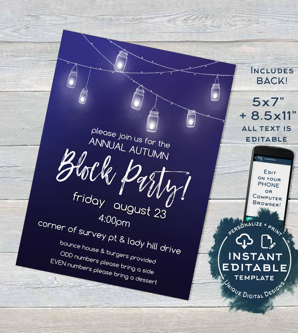 Block Party Invitation, Editable Fall Street Party Invite Neighborhood Backyard BBQ Rustic Printable Chalkboard   + Flyer