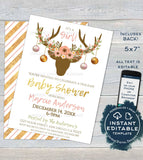 Boho Baby Shower Invitation, Editable Rustic Deer Antler Baby Girl Holiday Invite Party Pink Floral Christmas Printable