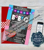 Editable BabyQ Gender Reveal Invitation, He or She BBQ, Pink or Blue Baby Shower Party, Gingham Printable Chalkboard Custom INSTANT DOWNLOAD