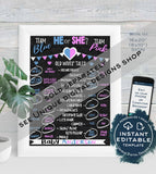 Editable What will Baby Bee Gender Reveal Invitation, Honey Bee He or She Baby Shower Party, diy Digital Printable Chalkboard