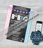Editable BabyQ Gender Reveal Invitation, He or She BBQ, Pink or Blue Baby Shower Party, Gingham Printable Chalkboard Custom