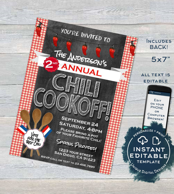 Chili Cook Off Invitation, Editable Chili Competition Chili Cookoff Party Vote Fall Party Chalkboard Personalized Printable INSTANT DOWNLOAD