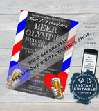Editable Beer Olympics Wedding Party Invitation, Any Color, Beer Pong Adult Party Invite, Team Bride Team Groom, Printable