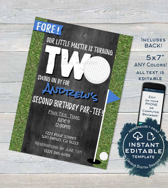 Golf Second Birthday Party Invitation, Editable Hole in Two Par-tee Invite, 2nd Kid Birthday Partee, Mini Golf Printable