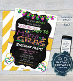 Mardis Gras Birthday Party Invitation, 30th Any Age, Editable Adult Party Invite Costume Party Masks Beads Printable Custom