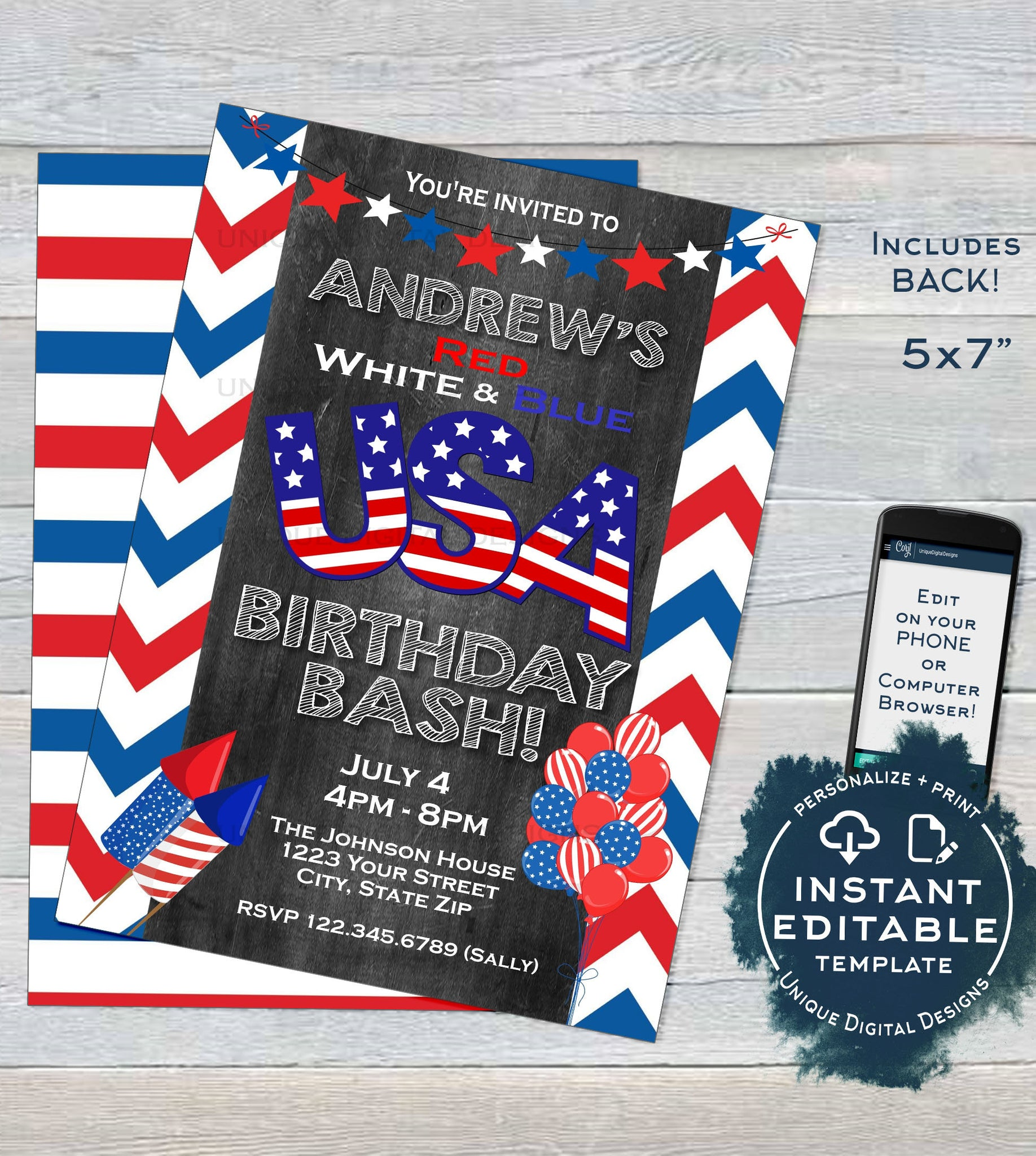 USA Birthday Invitation Editable 4th Of July Bash Party Stars And