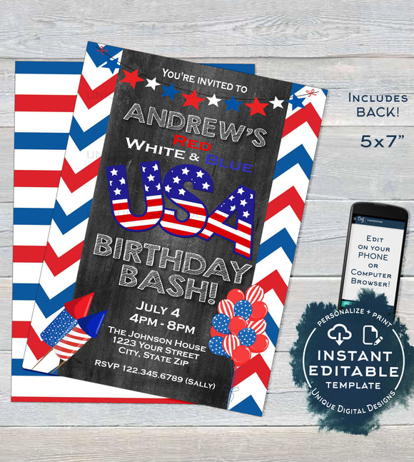 USA Birthday Invitation, Editable 4th of July Birthday Bash, July 4th Party Stars and Stripes red white blue diy Printable INSTANT DOWNLOAD