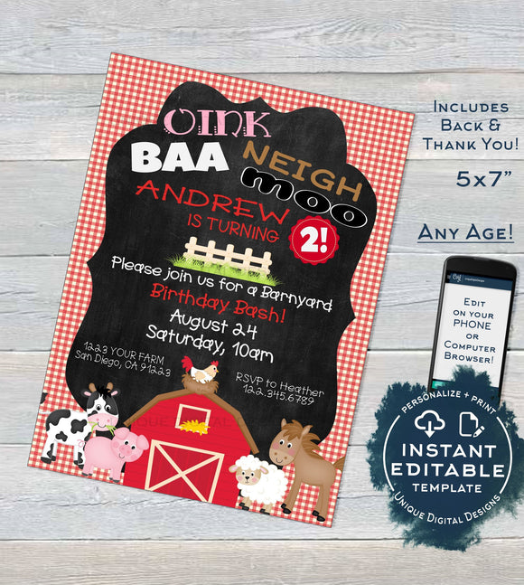 Farm Animal Birthday Invitation, Editable Petting Zoo Birthday Party Invite, Red Barnyard Birthday Bash Printable Template INSTANT DOWNLOAD