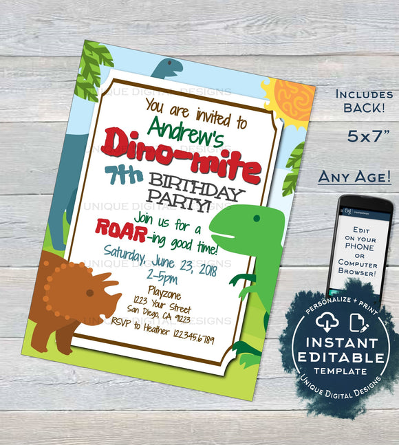 Dinomite Invitations, Dinosaur Birthday Invite, Editable Dino Party, ANY Age, Stomp Roaring Birthday party Custom Printable