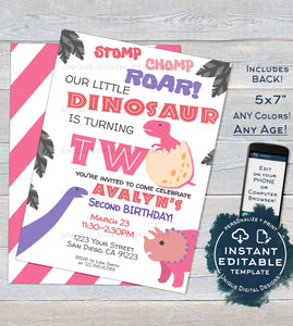 Girls Dinosaur Party, Girls Dinosaur Birthday Invitation, Editable 2nd Dino Party ANY Age Stomp Roar Birthday Printable INSTANT DOWNLOAD 5x7