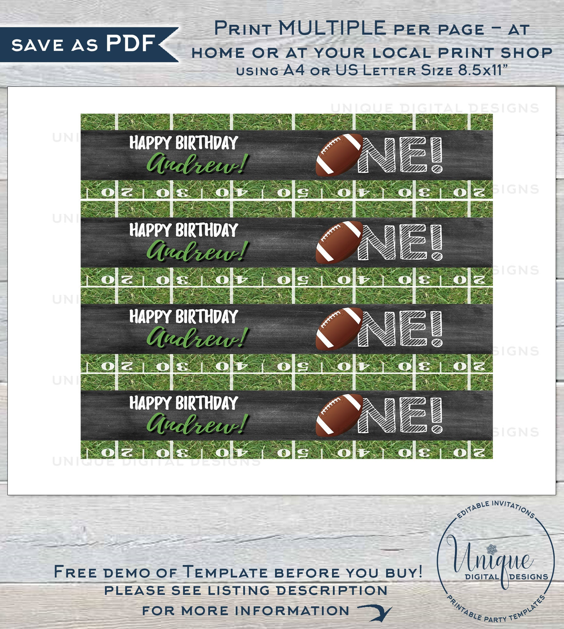 Editable Football Water Label Bottle Wrap First Birthday Printable Decoration One Football Chalkboard Custom Personalized Instant Access