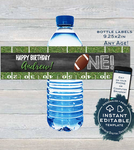 Editable Football Water Label Bottle Wrap, First Birthday Printable Decoration, One Football Chalkboard Custom Personalized