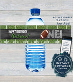 Editable Football Water Label Bottle Wrap, First Birthday Printable Decoration, One Football Chalkboard Custom Personalized INSTANT DOWNLOAD