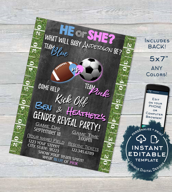 Football Soccer Gender Reveal Invitation, Editable He or She Invite, Team He Team She, Chalkboard Template Custom Printable INSTANT DOWNLOAD