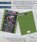 Football Soccer Gender Reveal Invitation, Editable He or She Invite, Team He Team She, Chalkboard  Custom Printable