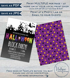 Halloween Block Party Invitation, Editable Street Party Invite, Neighborhood Costume Party Flyer, Backyard BBQ Printable