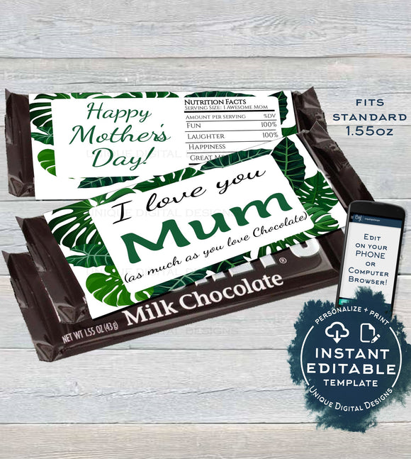 Mother's Day Gift, Editable Candy Bar Wrapper, Mom Appreciation Chocolate Bar Mum Day Greenery Leaf Custom Printable INSTANT DOWNLOAD 1.55oz
