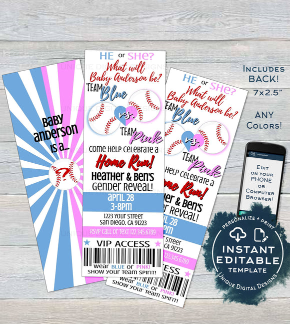 Gender Reveal Invitation, Editable Baby Baseball Ticket Invite, Baby Shower He or She Team Blue Team Pink, Custom Printable