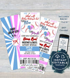 Gender Reveal Invitation, Editable Baby Baseball Ticket Invite, Baby Shower He or She Team Blue Team Pink, Custom Printable INSTANT ACCESS