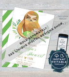Sloth Baby Shower Invitation, Editable Girls Sloth Baby Shower Invite, Hang out Baby Sloth, Custom Printable Template INSTANT DOWNLOAD 5x7
