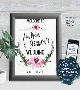 Wedding Welcome Sign Personalized Floral Wedding Poster Watercolor Wreathe Table Decoration Printable