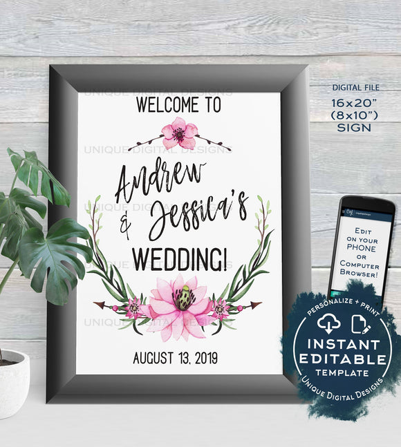 Wedding Welcome Sign Personalized Floral Wedding Poster Watercolor Wreathe Table Decoration Printable Template INSTANT EDITABLE 16x20 8x10