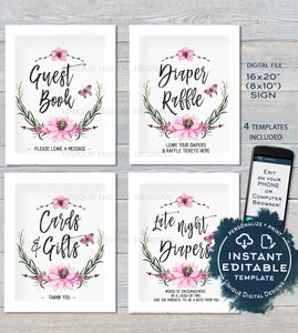 Baby Shower Sign Personalized Floral Shower Games Posters Watercolor Wreathe Table Decoration Printable