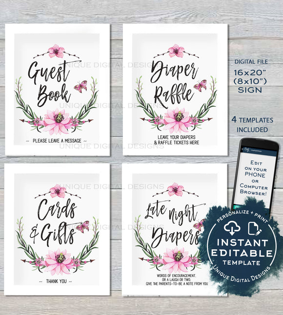 Baby Shower Sign Personalized Floral Shower Games Posters Watercolor Wreathe Table Decoration Printable Template INSTANT EDITABLE 16x20 8x10