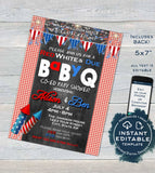 4th of July Baby Shower Invitation, Editable Firecracker BabyQ Invite, Co-ed Baby Shower, Red White and Due BBQ Printable